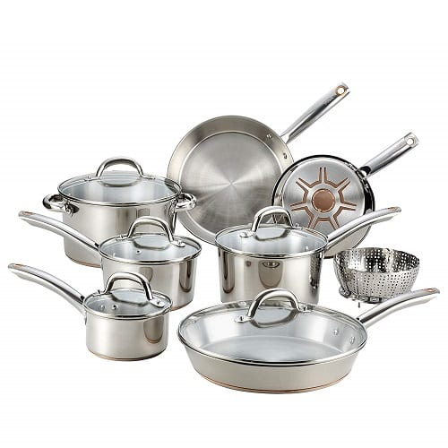 T-fal C836SD Ultimate Stainless Steel Copper Bottom 13 PC Cookware Set