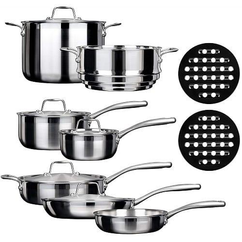 Duxtop SSC-14PC 14 Piece Whole-Clad Tri-Ply Induction Cookware Set