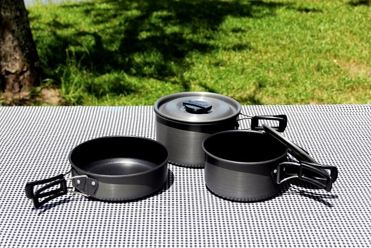 Camping Cookware On Table